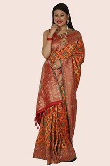 Picture of Arresting Orange & Red Colored Designer Patola Print Saree