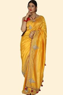 Picture of Amazing Yellow Colored Partywear Dola Silk Saree