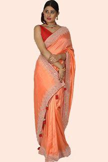 Picture of Preferable Dark Peach Colored Partywear Dola Silk Saree
