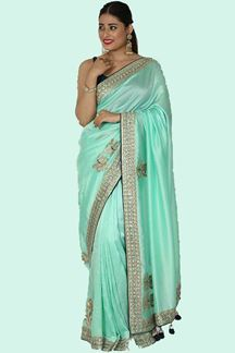 Picture of Marvellous Sea Green Colored Partywear Dola Silk Saree
