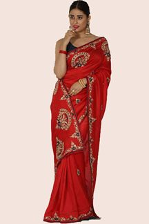 Picture of Imposing Red Colored Partywear Embroidered Dola Silk Saree