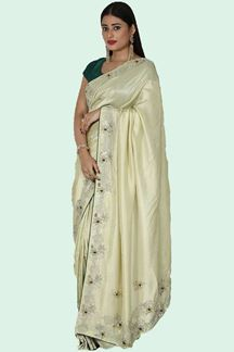 Picture of Blooming Sea Green Colored Saree