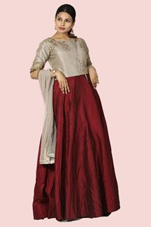 Picture of Flaunt Grey & Maroon Colored Partywear Anarkali Suit