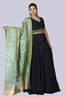 Picture of Exotic Navy Blue Colored Party Wear Embroidered Anarkali Suit