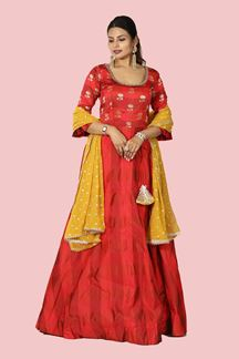 Picture of Red Art Silk Anarkali Suit with Dupatta