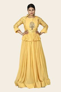 Picture of Yellow Colored Partywear Georgette Jacket Skirt Suit