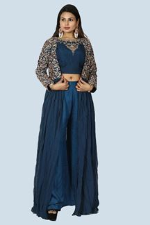 Picture of Navy Blue Colored Partywear Georgette Jacket Palazzo Suit