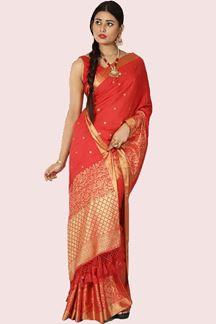 Picture of Ravishing Red Colored Banarasi Malai Silk Saree