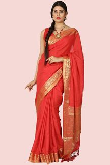 Picture of Red Colored Banarasi Malai Silk Saree