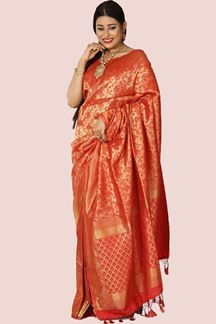 Picture of Trendy Red Colored Festive Wear Brocade Saree
