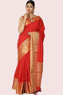 Picture of Intricate Red Colored Banarasi Malai Silk