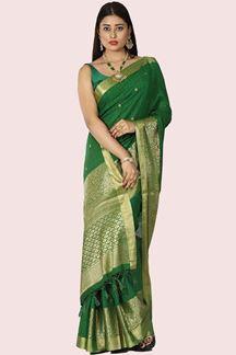 Picture of Desirable Green Colored Banarasi Malai Silk