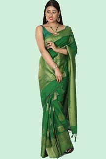 Picture of Mesmeric Green Colored Banarasi Malai Silk