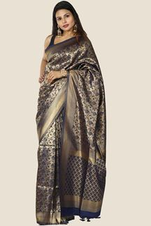 Picture of Navy Blue Colored Festive Wear Banarasi Brocade Saree