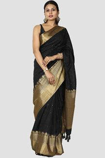 Picture of Designer Black Colored Banarasi Malai Silk Saree