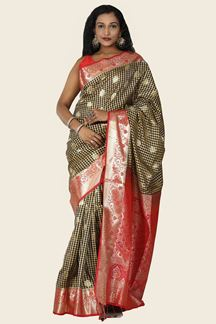 Picture of Arresting Black& Red Colored Festive Wear Silk Saree