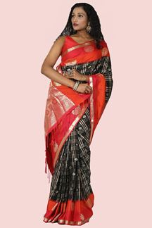 Picture of Elegant Black & Red Colored Silk Saree