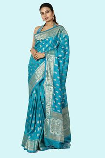 Picture of Classy Peacock Blue Colored Silk Saree