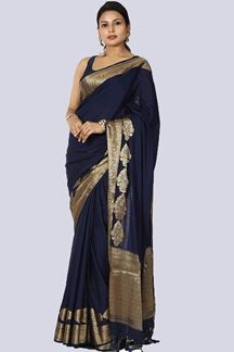 Picture of Glowing Rama Blue Colored Silk Saree With Tassels