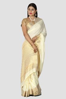 Picture of Mesmerising Cream Colored Festive Wear Silk Saree