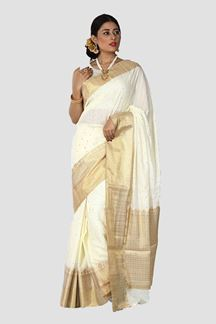 Picture of Stunning Cream Colored Festive Wear Silk Saree