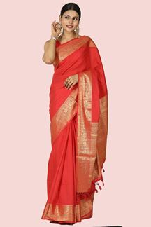 Picture of Impressive Red Colored Festive Wear Woven Silk Saree