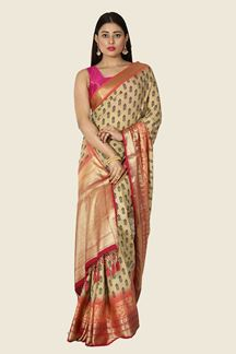 Picture of Flaunt Beige & Pink Colored Festive Wear Silk Saree