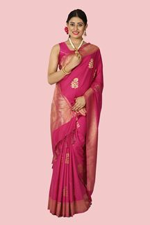 Picture of Jazzy Pink Colored Festive Wear Woven Silk Saree