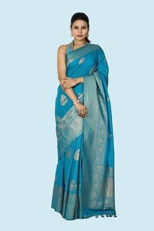 Picture of Jazzy Peacock Blue Colored Festive Wear Woven Silk Saree