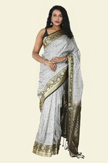 Picture of Majesty Black& White Colored Festive Wear Jamdani Silk Saree