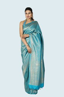 Picture of Mesmeric Peacock Blue Colored Festive Wear Silk Saree