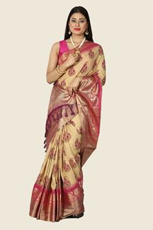 Picture of Blissful Beige & Magenta Colored Festive Wear Silk Saree