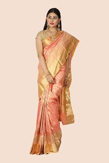 Picture of Attractive Peach Colored Festive Wear Woven Silk Saree