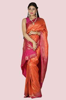 Picture of Classy Orange-Rani Pink Colored Brocade Silk Saree
