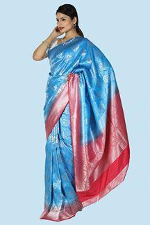 Picture of Excellent Blue- Rani Colored Festive Wear Brocade Silk Saree