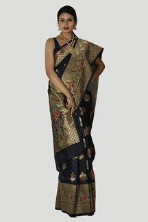 Picture of Desirable Black Colored Banarasi Silk Saree