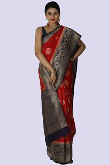 Picture of Red& Blue Color Banarasi Silk Saree
