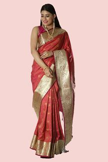 Picture of Opulent Rani Pink Colored Banarasi Silk Saree