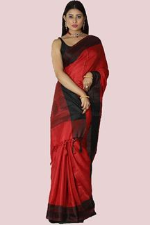 Picture of Ravishing Red & Black Colored Festive Silk Saree