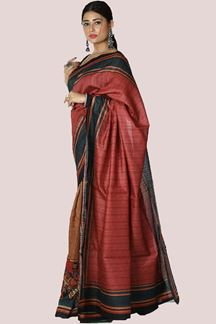 Picture of Gleaming Onion Pink Colored Raw Silk Saree