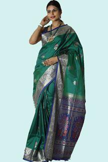 Picture of Delightful Green & Purple Colored Banarasi Silk Saree