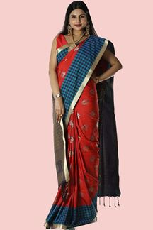 Picture of Hypnotic Red & Navy Blue Colored Banarasi Silk Saree
