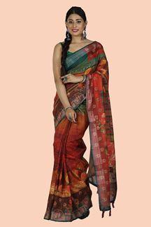 Picture of Unique Multi Colored Printed Art Tussar Silk Saree