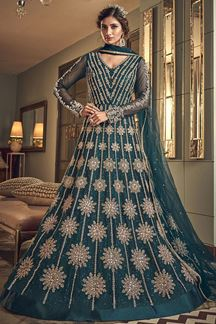 Picture of Dazzling Teal Colored Partywear Embroidered Netted Suit (Unstitched suit)