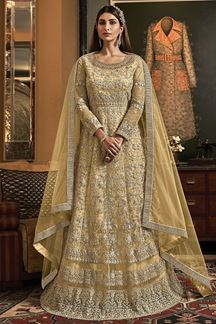 Picture of Marvellous Yellow Colored Party Wear Embroidered Net Anarkali Suit (Unstitched suit)