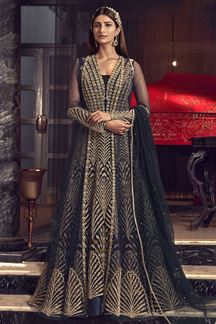 Picture of Designer Navy blue Colored Patola Silk Anarkali Suit (Unstitched suit)
