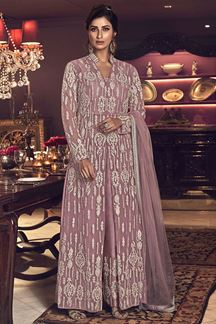 Picture of Sophisticated Pink Colored Partywear Net Palazzo Suit (Unstitched suit)