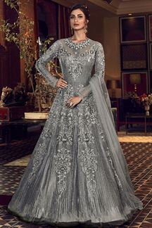 Picture of Arresting Grey Colored Partywear Embroidered Net Anarkali Suit (Unstitched suit)