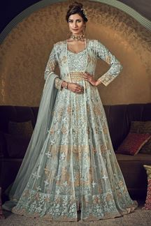 Picture of Arresting Turquoise Colored Embroidered Net Anarkali Suit (Unstitched suit)