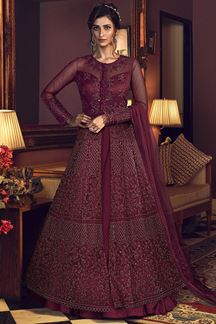 Picture of Entrancing Maroon Colored Partywear Embroidered Netted Suit (Unstitched suit)